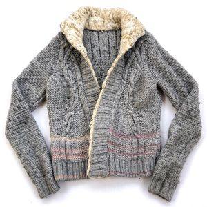 Free People North Star Faux Fur Trim Sweater